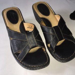 Born leather black wedge slip on sandal size10